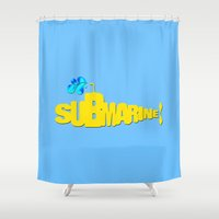 yellow submarine Shower Curtains featuring Yellow Submarine by Tali Rachelle