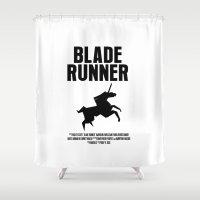 blade runner Shower Curtains featuring Blade Runner Movie Poster by FunnyFaceArt