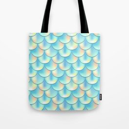 Teal Green Mermaid Pattern, Holographic Fish Scale Print Tote Bag