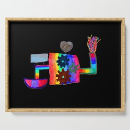 Colored fireworks machinery | Kids Painting by Elisavet Serving Tray