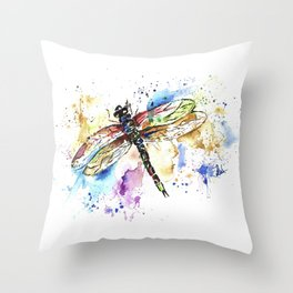 Dragonfly - Rainbow Wings Throw Pillow