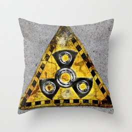 Fidget Spinner Nuclear Radiation Warning Triangle Throw Pillow