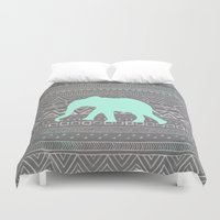 shipping Duvet Covers featuring Mint Elephant  by Sunkissed Laughter