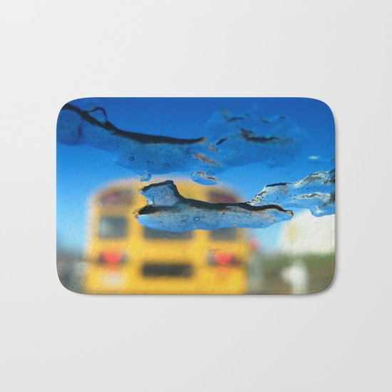 yellow bus and ice photography Bath Mat