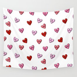 Hearts valentines day candy heart love sayings i love you pattern Wall Tapestry