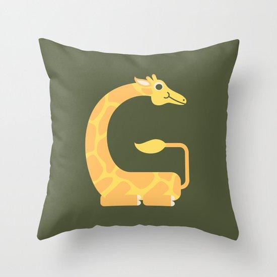 Letter G // Animal Alphabet // Giraffe Monogram Throw Pillow