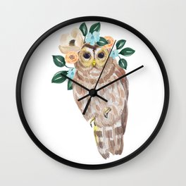 Owl with flower crown Wall Clock