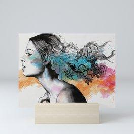 Moral Eclipse II (portrait of woman with doodles sketch) Mini Art Print