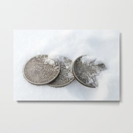 Silver Dollar Coins in Snow Metal Print