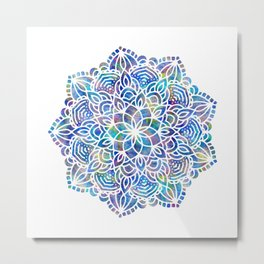 Mandala Little Mermaid Ocean Blue Metal Print
