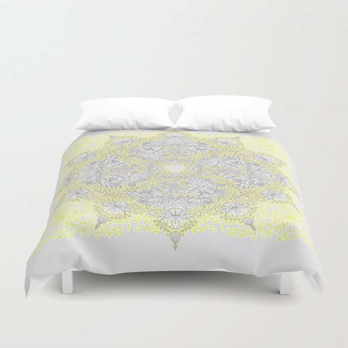 Sunny Doodle Mandala in Yellow & Grey Duvet Cover