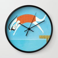 swim Wall Clocks featuring Swim by Sally Townsend