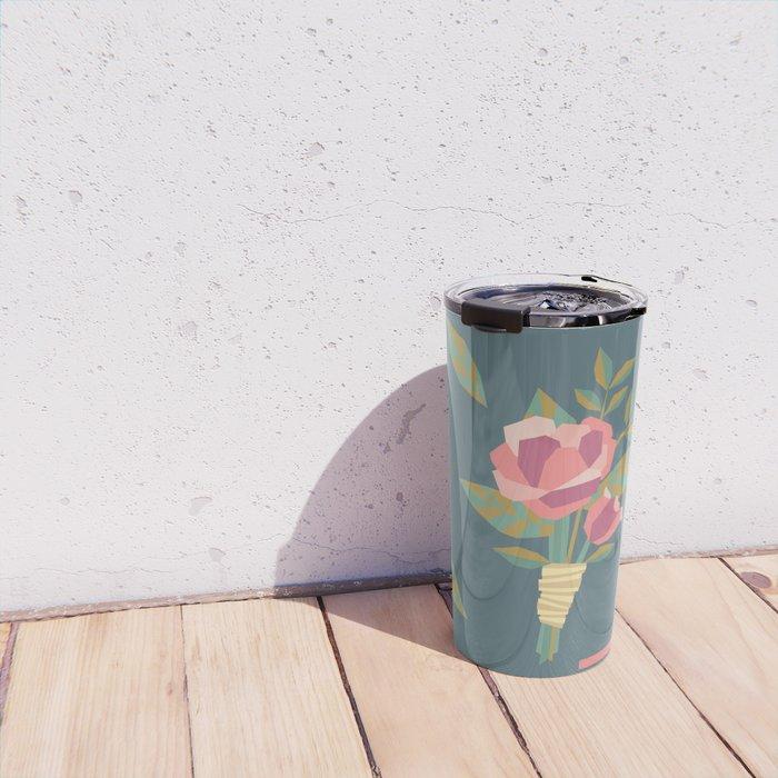 Geometric Wedding Rose Floral Boutonniere Travel Mug