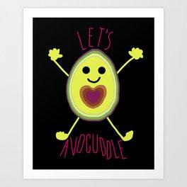 Let's Avocuddle AVOCADO - dark bg Art Print