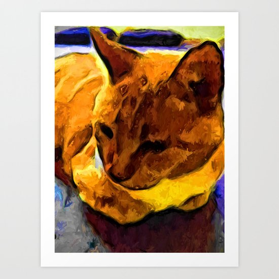 Orange and Yellow Cat Art Print
