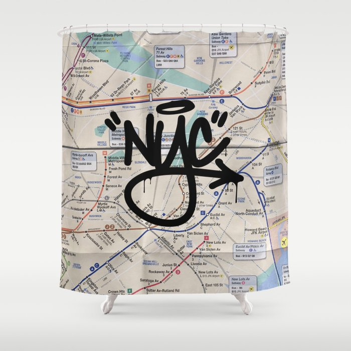 Queens NYC Subway Map Shower Curtain