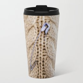 Cable Knit Safety Pin Travel Mug
