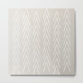 Mudcloth White Geometric Shapes in White-ARROWS 4 Metal Print