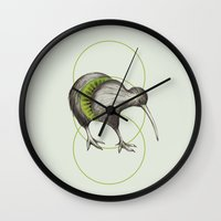 kiwi Wall Clocks featuring Kiwi by Alexander Salazar