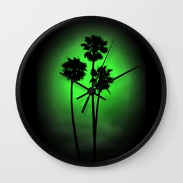 Palm Trees Green Glow Wall Clock