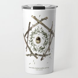 nature mandala... beech sticks, hemlock needles, quail egg Travel Mug