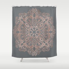 Mandala Rose Gold Pink Shimmer on Soft Gray by Nature Magick Shower Curtain