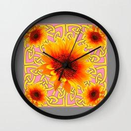 Decorator Sunflower Grey-Coral Color Floral Celtic art Wall Clock