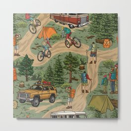 Outdoor recreation vintage seamless pattern with hikers bicycle travelers motorhome travel car tents forest tree stumps backpacks vintage illustration Metal Print