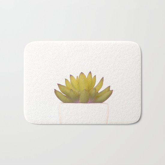 Cactus in flower pot on white background Bath Mat