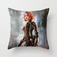 black widow Throw Pillows featuring Black Widow by Wisesnail