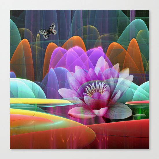 Lotus flower in a magical pool Canvas Print