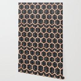 Black campari marble & copper honeycomb Wallpaper