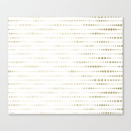 Modern Gold Polka Dot Stripes Canvas Print