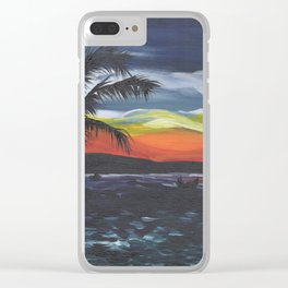 Island Life, Palm Trees, Sunsets and Fishermen Clear iPhone Case