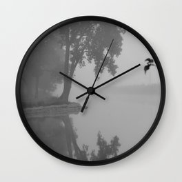 Black and White Foggy River Wall Clock