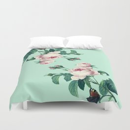 Roses Mint Green + Pink Duvet Cover