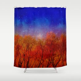 Night on fire Shower Curtain
