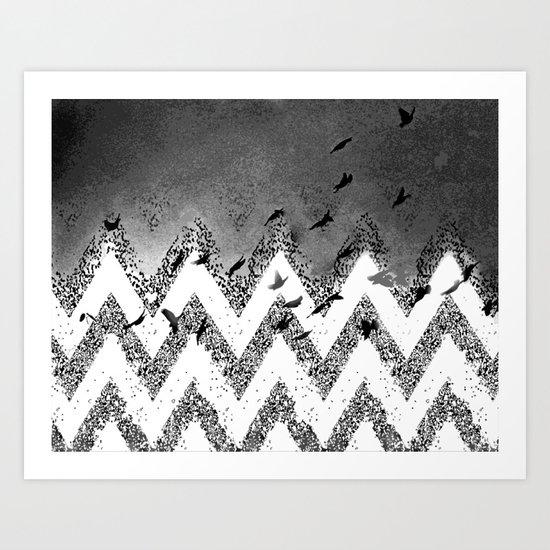 flying (black and white) Art Print