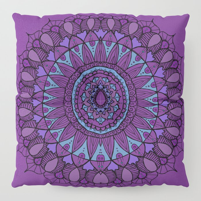 Bohemian Mandala in Plum with Turquoise Floor Pillow