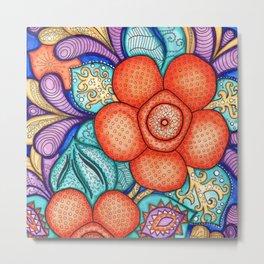 Watercolor Doodle Art   Rafflesia Metal Print