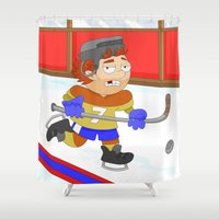 hockey Shower Curtains featuring Winter Sports: Ice Hockey by Alapapaju