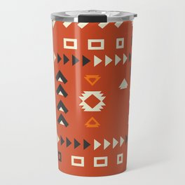 American native shapes in red Travel Mug