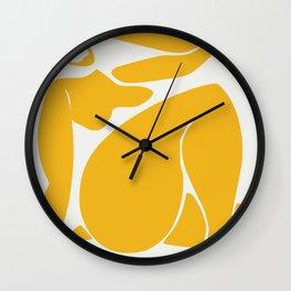 Chubby nude in yellow Wall Clock