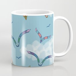 Boho Birds in Flight with Clouds Pattern Coffee Mug