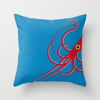 squid Throw Pillows featuring Squid by Mark Walker