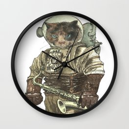 Space Cat with Saxophone Wall Clock