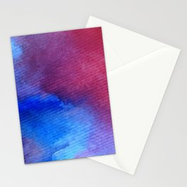 watercolor art abstract background red pink blue wet wash blurred handmade beautiful vibrant colorfu Stationery Cards