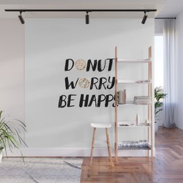Donut Worry Be Happy (Black) Wall Mural