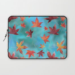 Dead Leaves over Cyan Laptop Sleeve