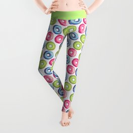 Modern neon pink green trendy sweet donuts pattern Leggings